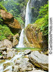 Double Waterfall On Machay River Ecuador - Machay Waterfall...