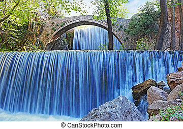 double waterfalls of Palaiokaria in Trikala Thessaly Greece...