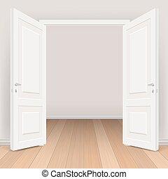 double white open door in living room
