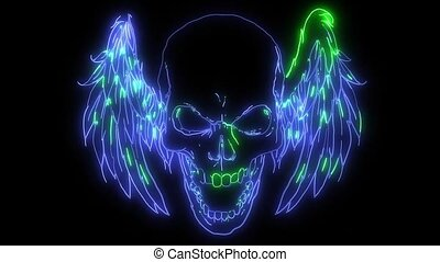 double winged human skull laser animation - of double winged...