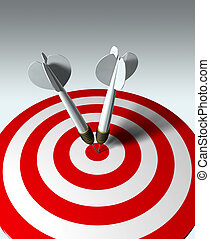 Double winner - two arrows on red target - business concept