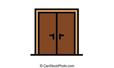 double wooden door animated color icon. double wooden door sign. isolated on white background