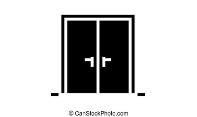 double wooden door animated glyph icon. double wooden door sign. isolated on white background