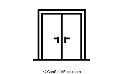 double wooden door animated black icon. double wooden door sign. isolated on white background