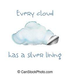 doublure, argent, nuage