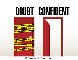 doubt and confident doors illustration design