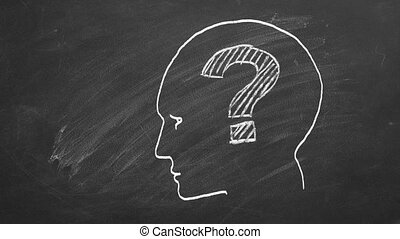 Human face with question mark inside. Illustration on blackboard.