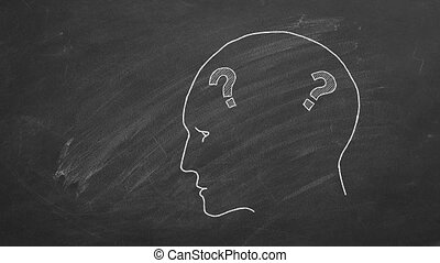 Human head with question marks inside. Animated Illustration on blackboard.
