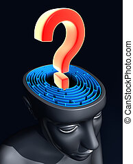 Question mark on the center of labyrinth inside the head. Concept of confused mind.