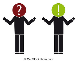 doubt - silhouette illustration of two people