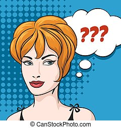 Doubt Woman and speech bubble with question mark. Illustration in comic style.
