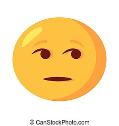 doubtful emoji face classic flat style icon vector ...