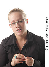 Doubtful - Blond girl in blackshirt with doubtful expression...