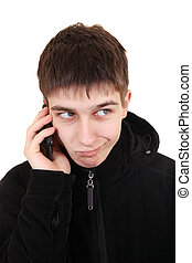 Doubtful Teenager with Cellphone