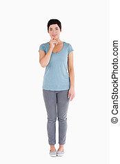 Doubtful woman posing