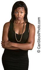 Doubtful Woman - Beautiful Black woman with doubtful...