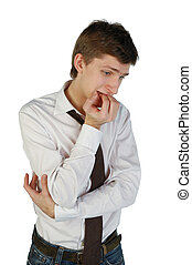 Doubtful young man - Embarrased young man expressing doubt. ...