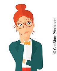 Doubtful young woman. - Doubtful young woman vector flat...