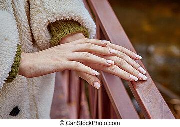 doucement, femme, chaque, mains, beau, closeup, autre, toucher