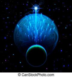 douche, étoile, deux, planètes