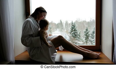 douche, après, peignoir, mère