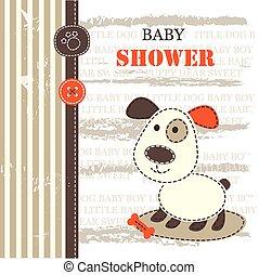 douche bébé, à, mignon, chien