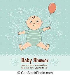 douche bébé, carte, à, a, mignon, dorlotez garçon