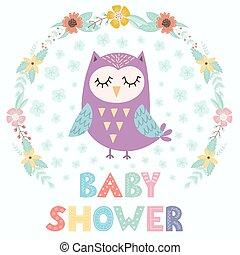 douche bébé, carte, à, a, mignon, hibou