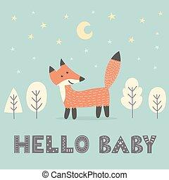 douche bébé, carte, à, a, mignon, renard