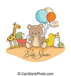 douche bébé, carte, jouets