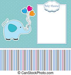 douche, bébé, carte, nouveau, éléphant