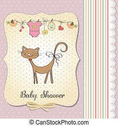 douche, bébé, carte, nouveau, chat