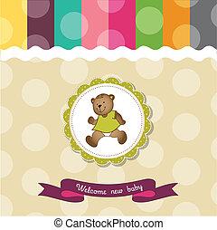 douche, bébé, carte, ours, teddy