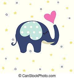 douche, bébé, carte voeux, éléphant