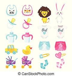 douche bébé, ensemble, symboles