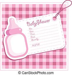 douche bébé, girl, card.
