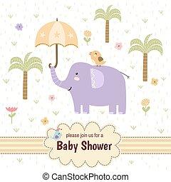douche bébé, invitation, carte, à, a, mignon, éléphant