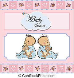 douche bébé, jumeaux, carte