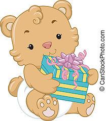 douche bébé, ours, cadeau