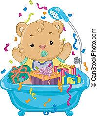 douche bébé, ours