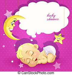 douche bébé, rose, carte