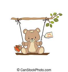 douche, baby, kaart, beer, teddy