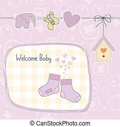 douche, baby meisje, kaart, kousjes