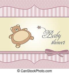douche, baby meisje, kaart, teddy