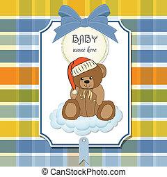 douche, baby, slaperig, kaart, teddy