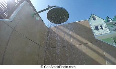 douche, extérieur, pov, hôtel, eau, poolside, tomber, piscine, natation