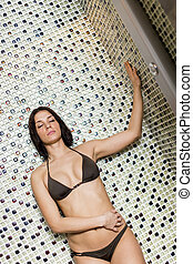 douche, femme, jeune