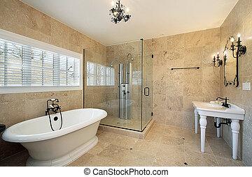 douche, grand, maître, verre, bain