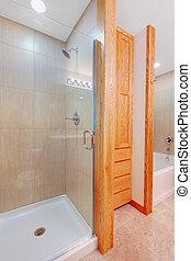 douche, nieuw, badkamer, kuip, inbouwkast