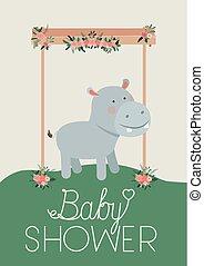 douche, nijlpaard, baby, kaart, schattig
